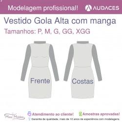 Molde Vestido Gola Alta (com Manga)